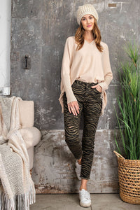 RC- Faded Olive Zebra Print Jeans