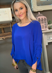 SL- Cobalt Woven 3/4 Gathered Sleeve Top