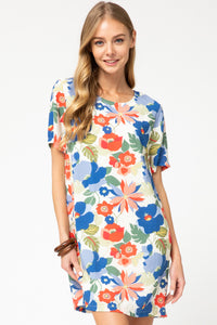 SL- Floral Print Scoop Neck Woven Dress