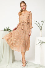 Load image into Gallery viewer, Taupe Midi Dress w Ruffle Detail