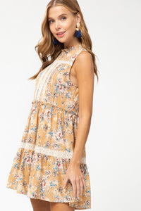 SL Entro High Neck Tan Dress Lace