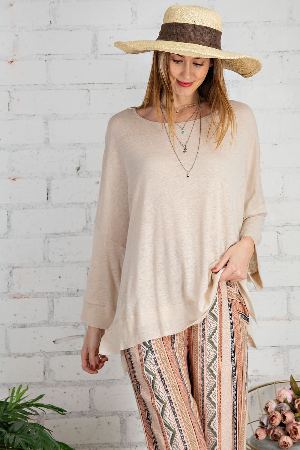 Easel Wide Sleeve Top Natural