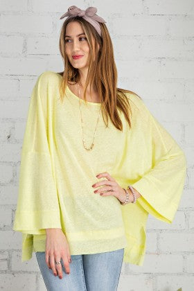 Easel Wide Sleeve Top Neon Yellow