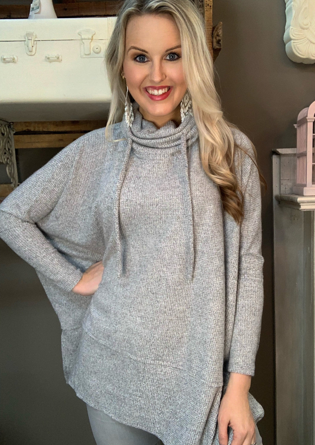 Cowl Drawstring Neck Pullover Heather Gray