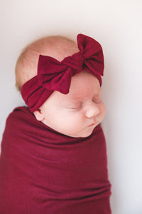Copper Pearl Ruby Knit Headband Bow
