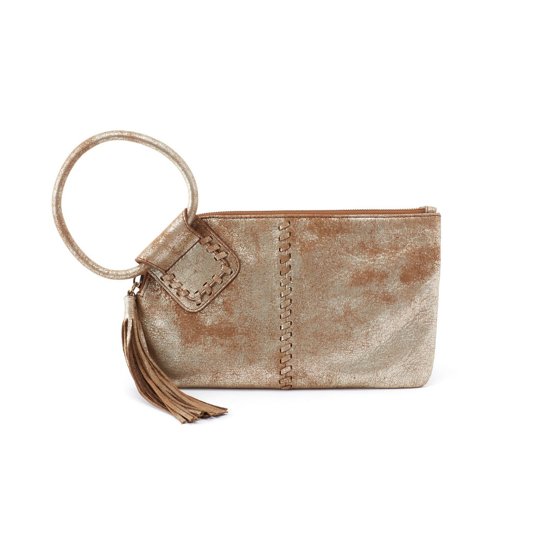 HOBO Sable Wristlet Metallic Gilded Leaf