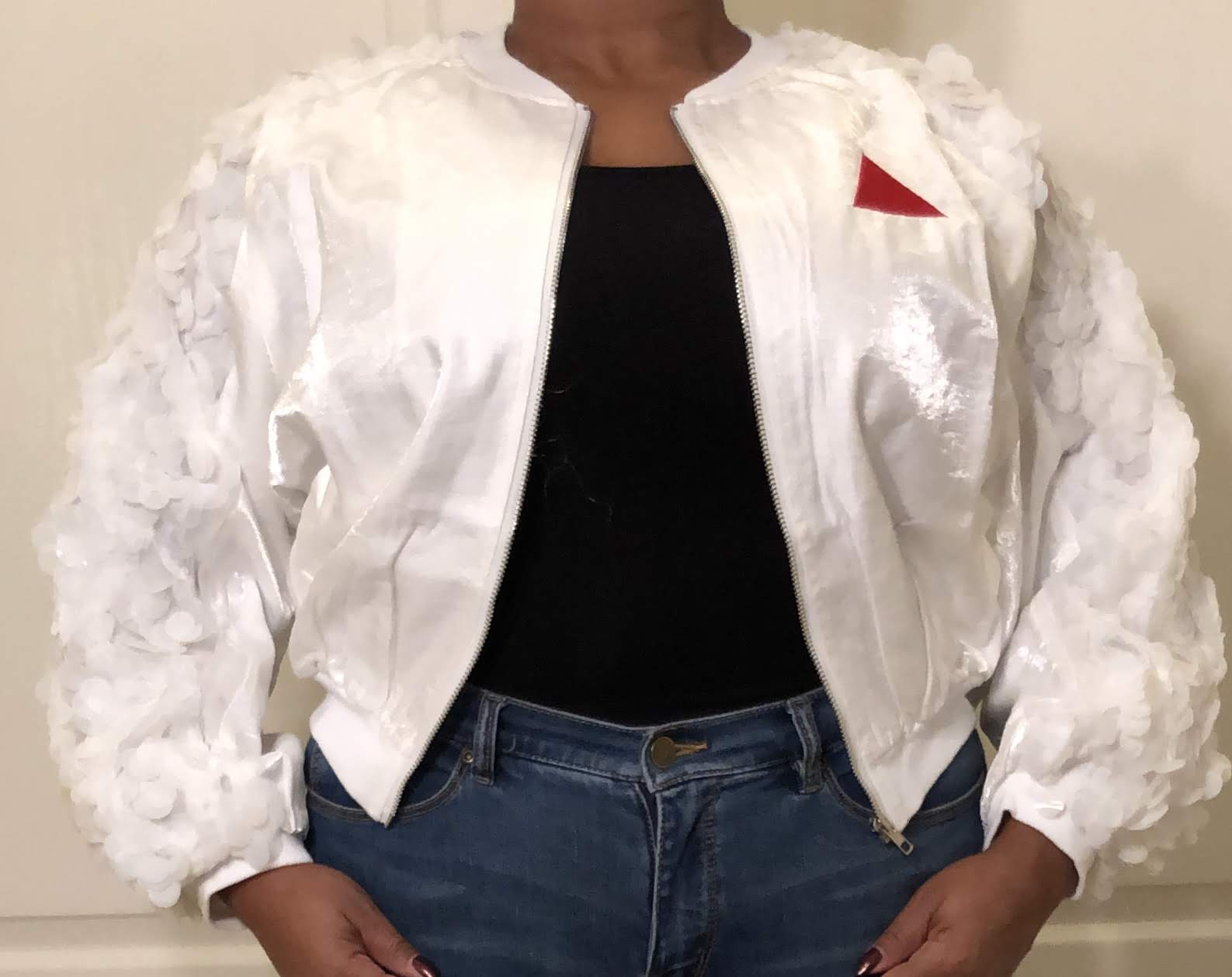 White Crop Jacket - Sequins - Red Pyramid