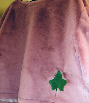 Pink Faux Fur Sweatshirt - Green Ivy Leaf