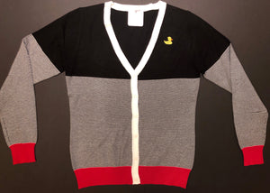 Red, Black, White Striped Cardigan - Duck Emblem