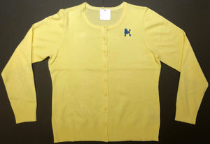Yellow Cardigan - Royal Blue Poodle