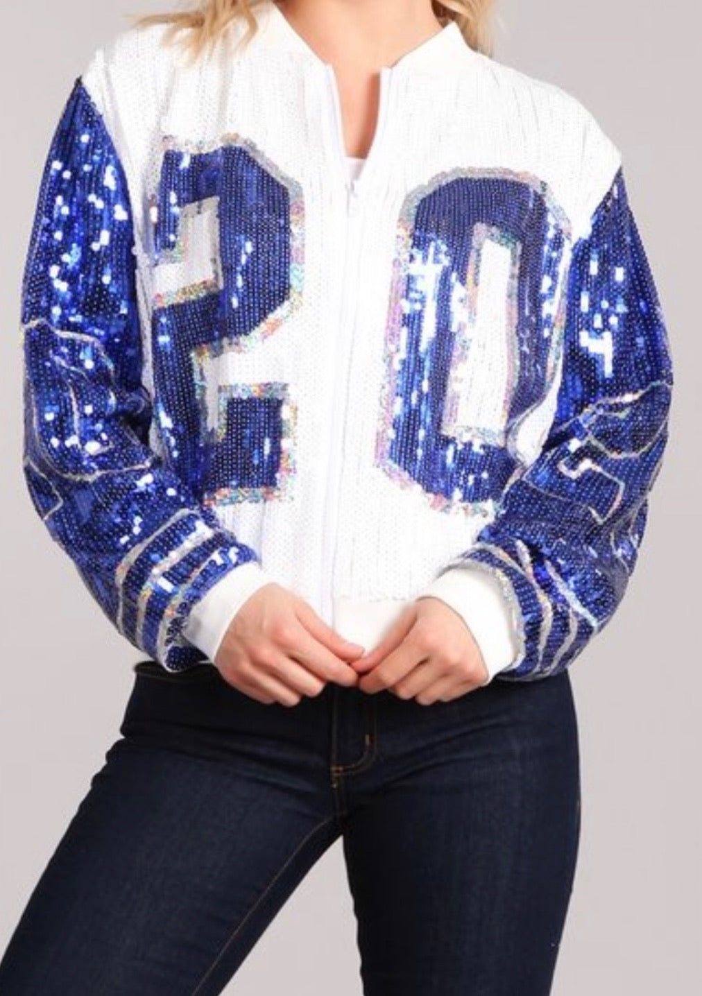 White, Blue and Silver '20 Sequins Jacket