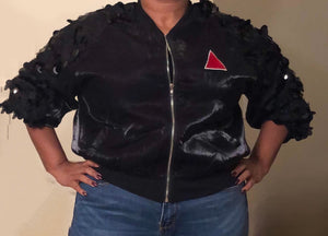 Black Crop Jacket - Sequins - Red Pyramid