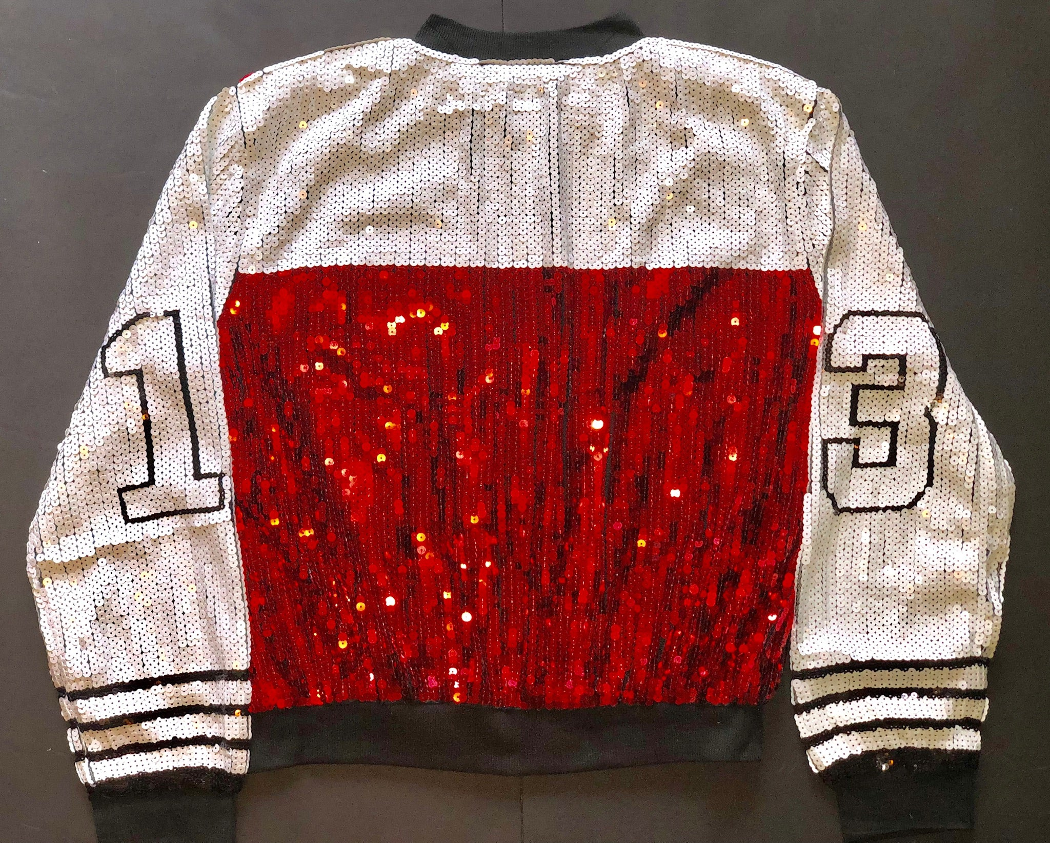 Red, Black and White Sleeve '13 Sequins Jacket