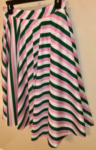 Pink, Green and White Striped Skirt