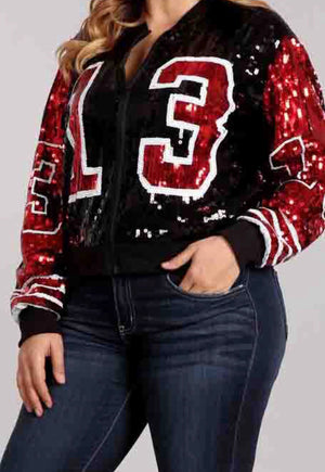 Black, Red and White '13 Sequins Jacket