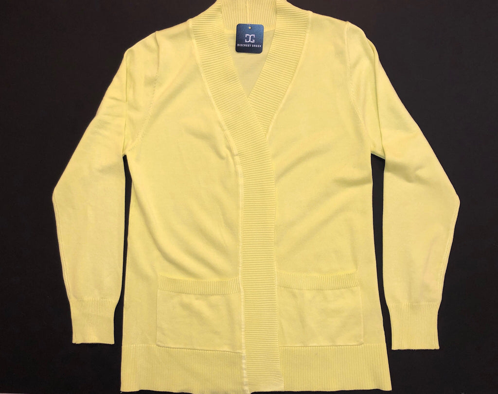 Yellow Open Front Cardigan - Poodle on Sleeve