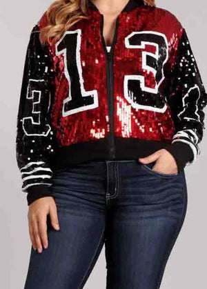 Red, Black and White '13 Sequins Jacket