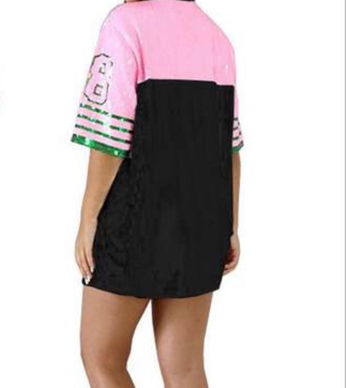 Black, Pink and Green '08 Sequins Tshirt Dress