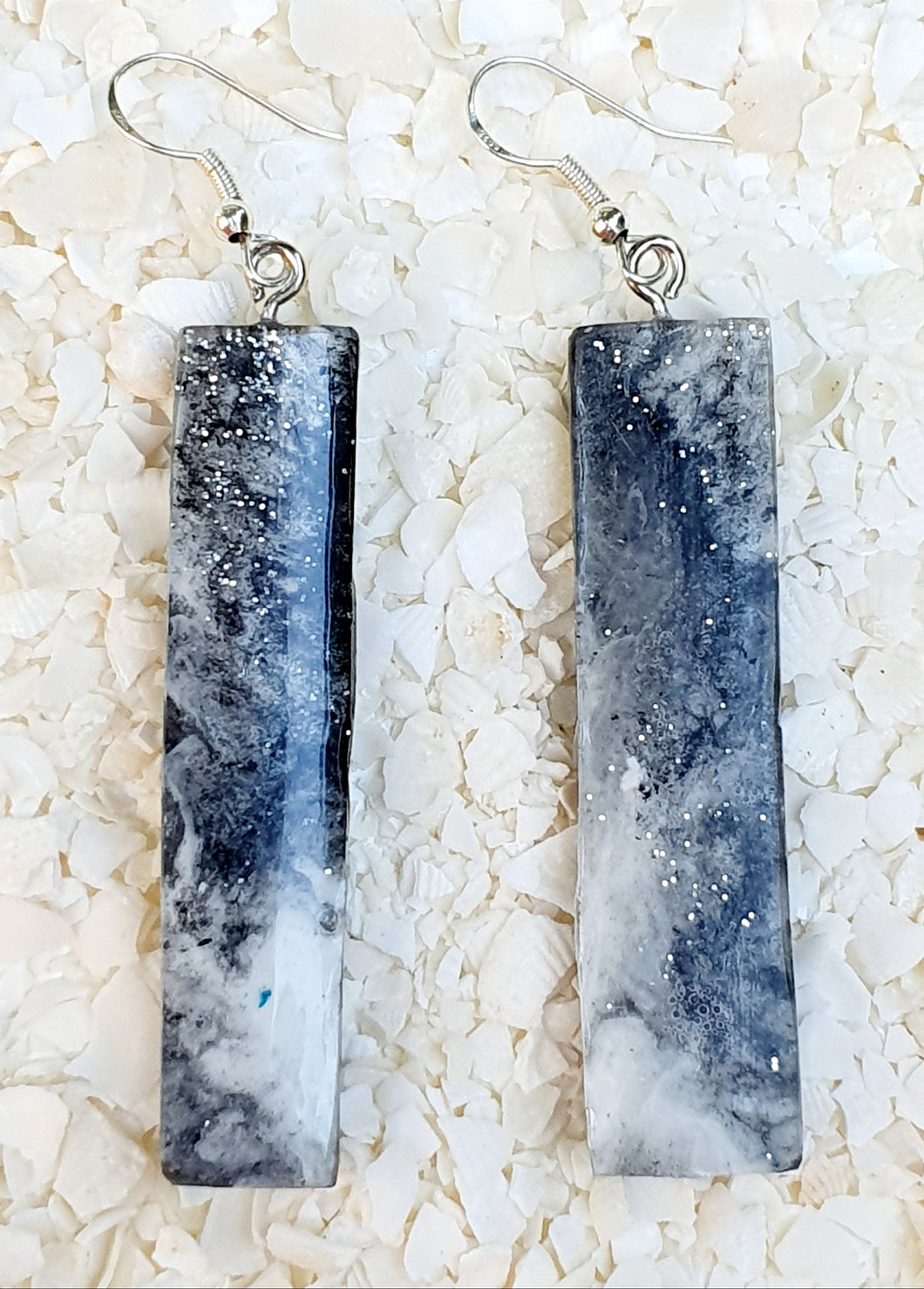 Black & White Resin Long Drop Earrings #3501