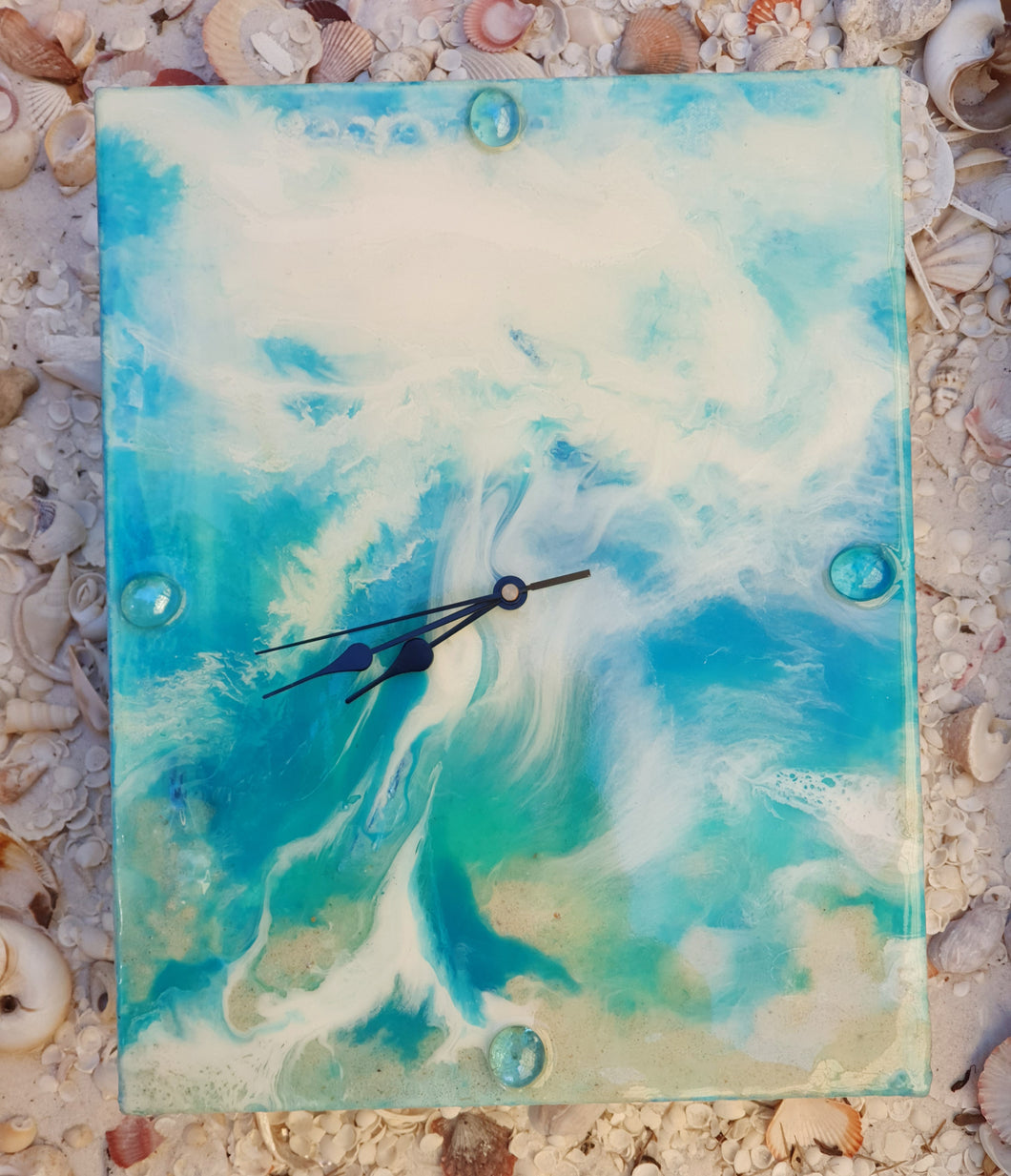 Resin Blue White Turquoise Numberless Clock #13002