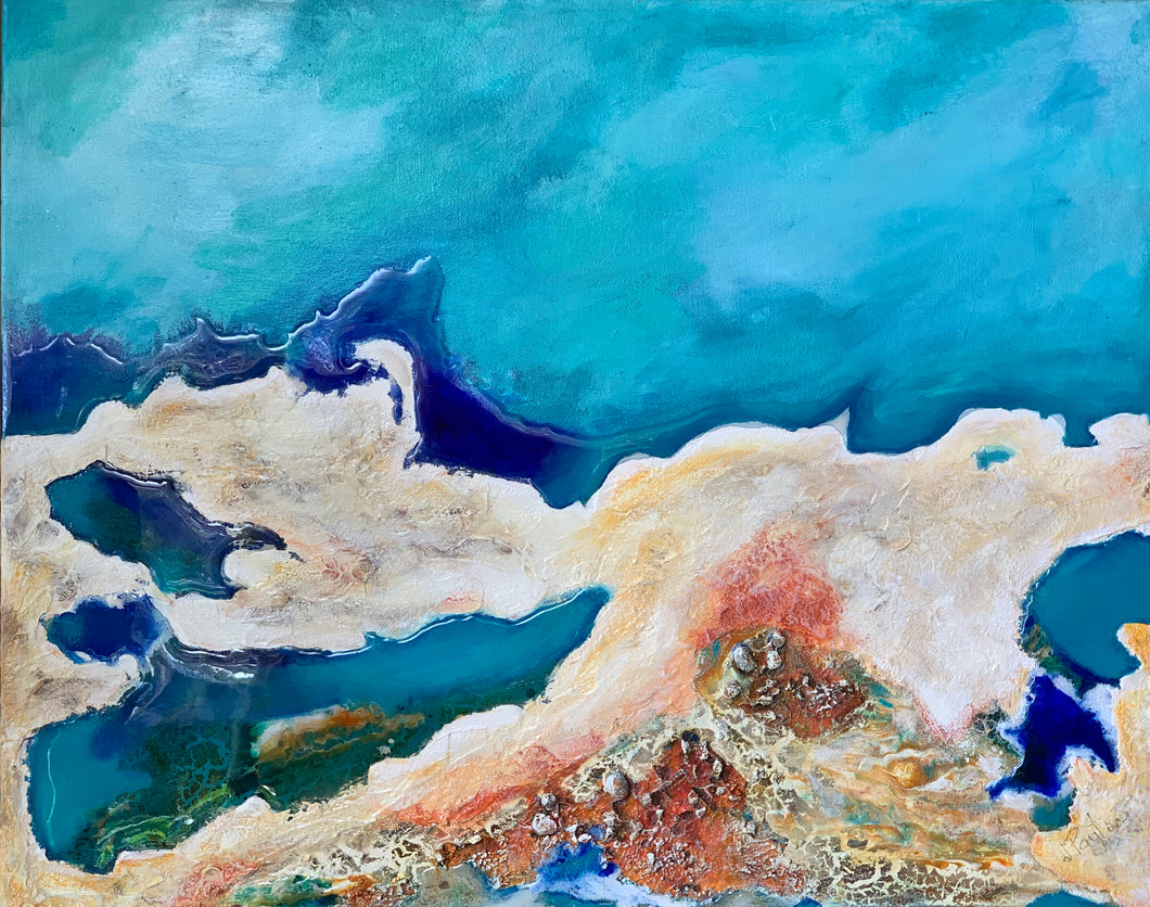 Peninsula Acrylic & Resin Canvas Painting