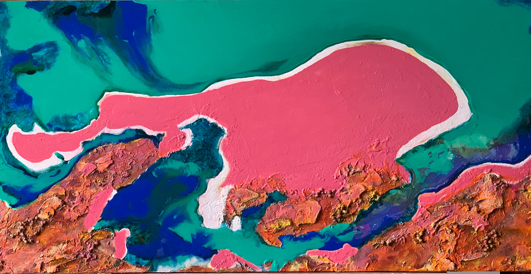 Pink Lake Acrylic & Resin Canvas Painting