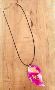 Resin Necklace Hot Pink White Gold Opal Glitter Jewellery Pendant - #102