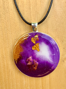 Resin Purple White Opal Glitter Necklace Jewellery Metal Pendant - #301