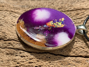 Resin Purple White Opal Glitter Necklace Jewellery Metal Pendant - 303