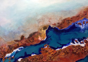 Turquoise & Blue River Acrylic & Resin Original Painting