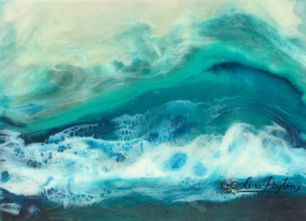 Turquoise Beach Resin Original Painting
