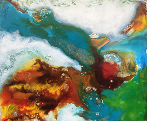 Green Tide Acrylic & Resin Original Painting