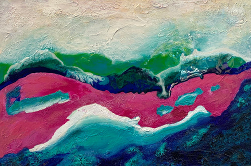 Pink River Acrylic & Resin Canvas Painting