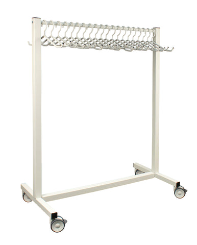INFAB 20 Hanger Mobile Apron Rack - Includes Hangers - Rack or Rack with Full Circle Hook Available -