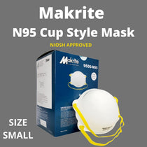 Makrite 9500-N95S Face Mask NIOSH Approved Small Surgical Respirator - 20 Pack
