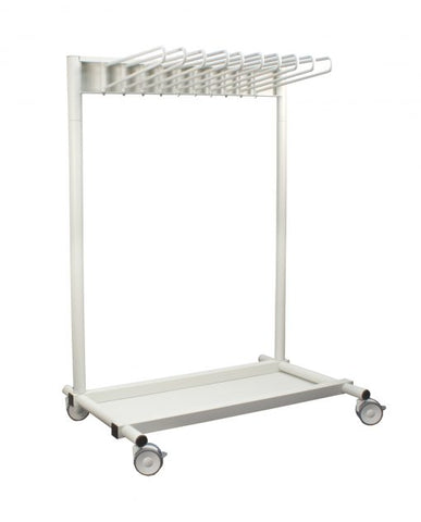 INFAB Revolution 10 Arm Mobile Apron Rack -Heavy Duty Hangers