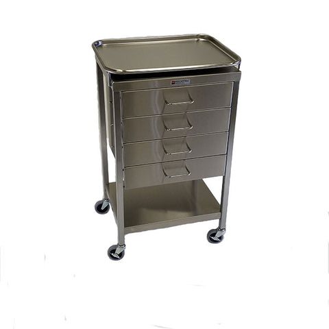 "Stainless Steel Anesthesia Table 16""w x 20""l x 34""H, with 4 Drawers and removable tray"