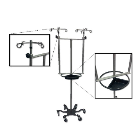 "Stainless Steel Double IV Pole W/Thumb Knob, 4 Hook Top, 6-Leg Spider Base, 3"" casters, steering wheel"