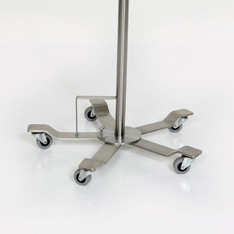 "Stainless Steel Foot Controlled IV Pole, 5-Leg 22""dia. Base, 4 Hook Top"