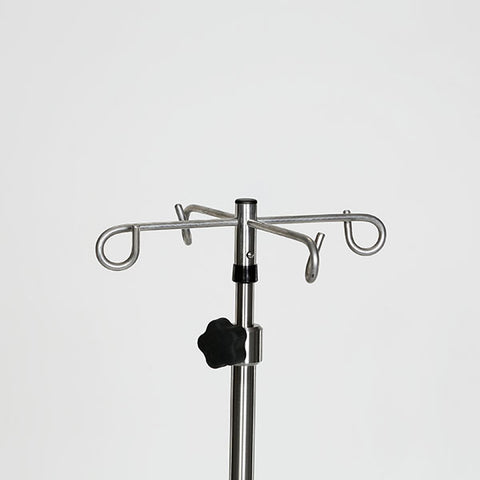 "Stainless Steel IV Pole W/4 Hook Top, No Lose Thumb Knob, 6-Leg 24""dia. Base"