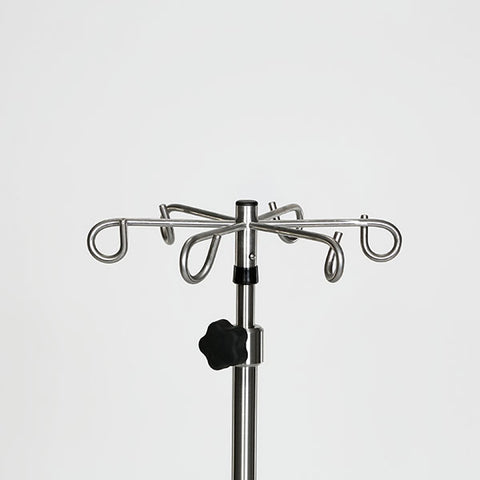 "Stainless Steel IV Pole W/6 Hook Top, No Lose Thumb Knob, 5-Leg 16""dia. 22 lb. Base W/3"" Casters"