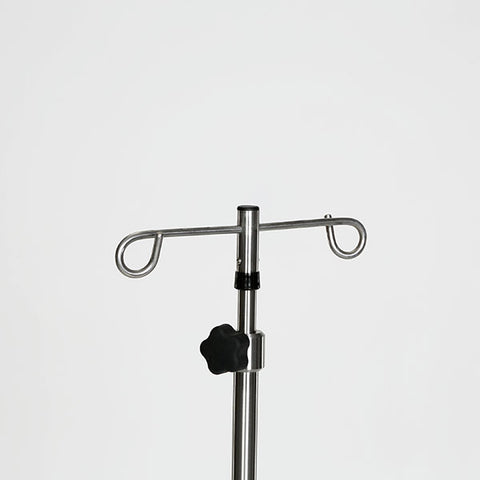 "Stainless Steel IV Pole W/thumb knob, 2-Hook Top, 6-leg Stainless Steel Spider Base W/3"" Ball Bearing Casters"