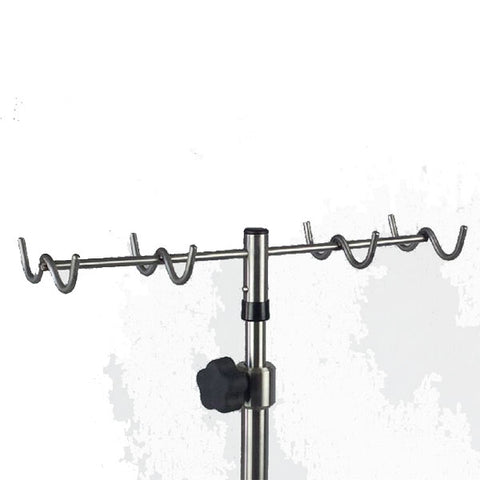 "Stainless Steel IV Pole W/thumb knob, 8-Hook Rake Top, 6-leg Stainless Steel Spider Base W/3"" Ball Bearing Casters"