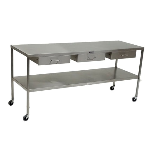 "Stainless Steel Instrument Table with Shelf and Drawers under top 24"" W x 72"" L x 34"" H, 3 drawers"