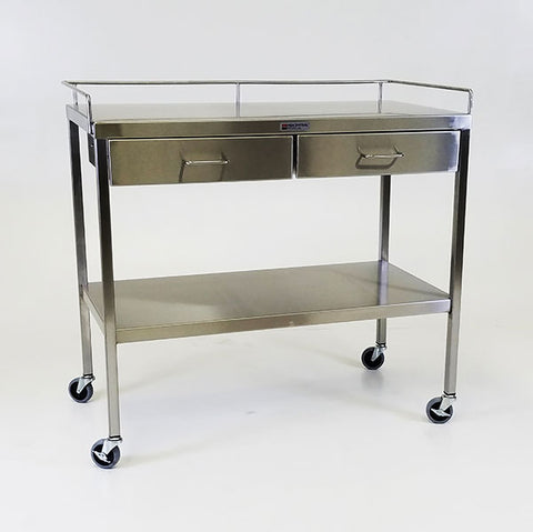"Stainless Steel Utility Table 20""w x 38""l x 34""H, with 4 Drawers and 3-Sided Guardrail"