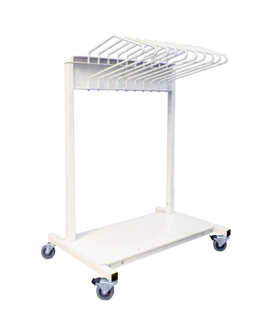 INFAB Budget Saver Mobile Apron Rack with 10 Arms - Heavy Duty - Heavy Gauge Steel -