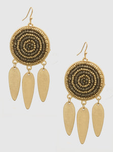 """AZTEK"" GOLD/BRONZE EARRINGS"