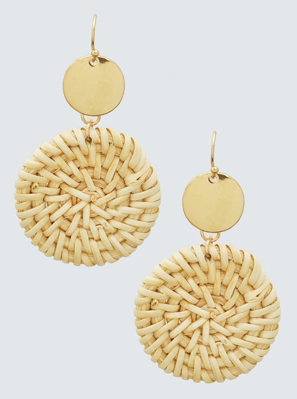 STRAW ROUND EARRINGS