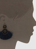 NAVY FAN SHAPE EARRINGS
