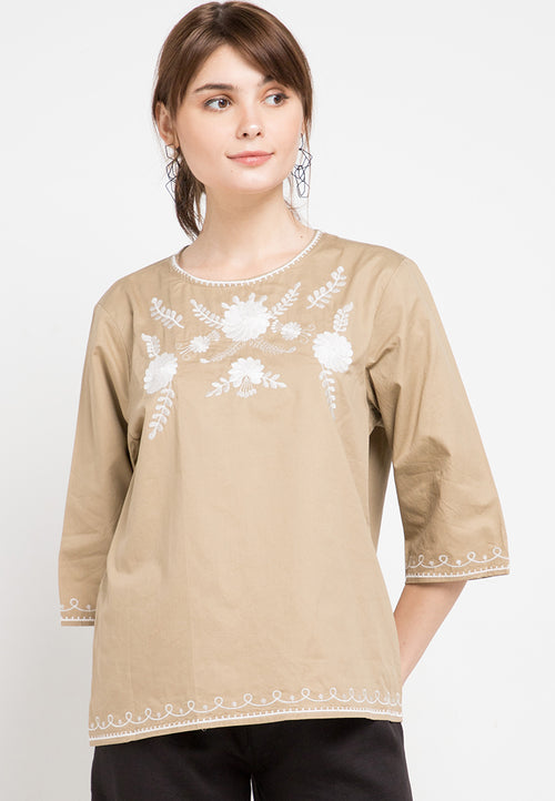 Mineola Embroidered Cotton Top Brown